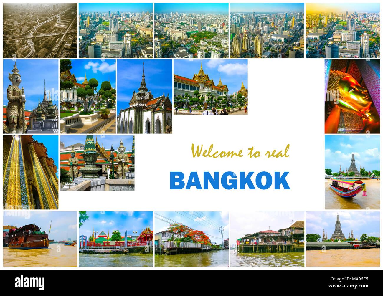 Collage of landmarks of Bangkok, Thailand. - Stock Image