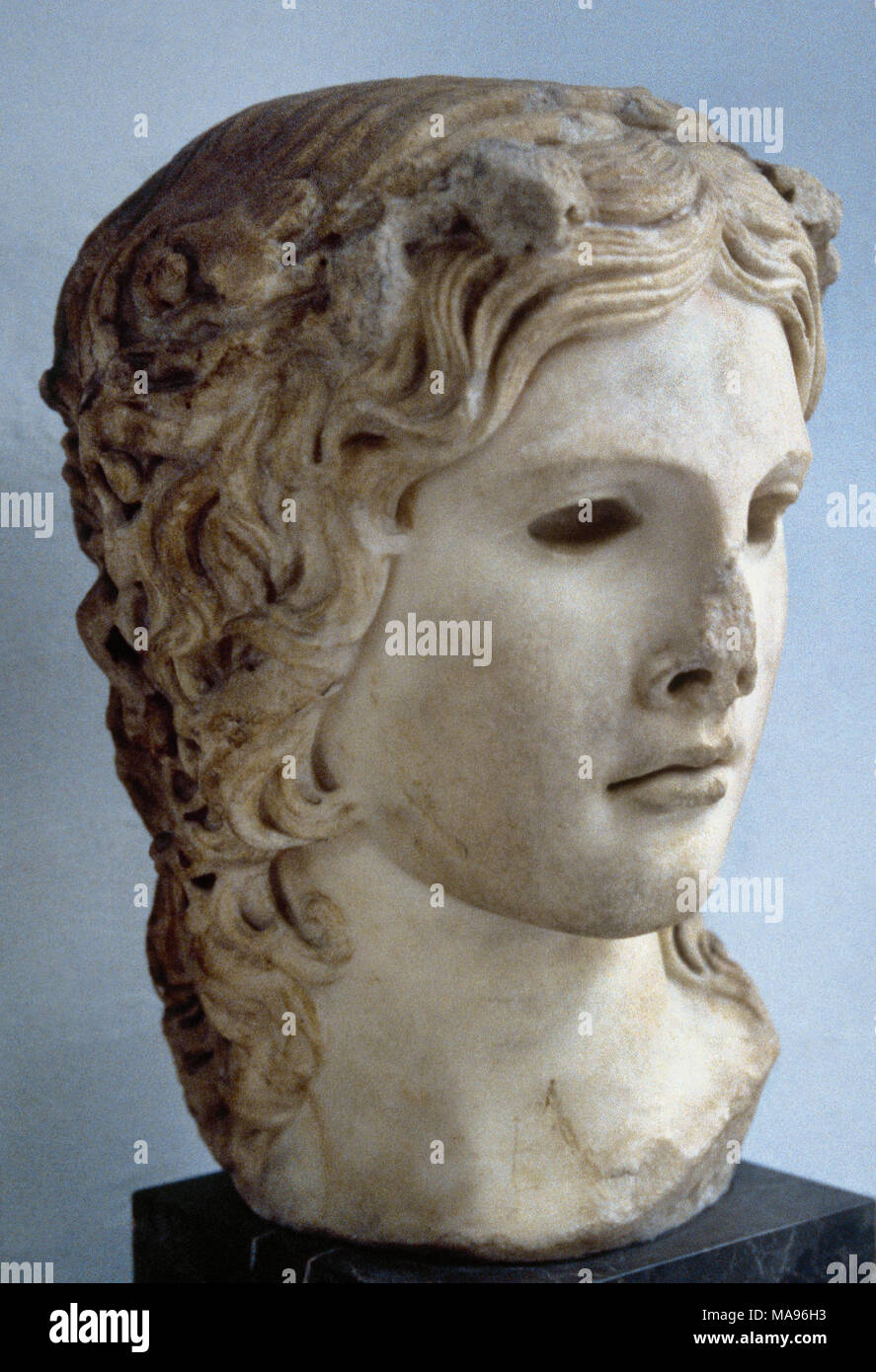 Dionysus (Roman Bacchus). God of the grape harvest and wine. Roman copy (2nd century) after a Greek original bust (2nd century BC). British Museum. London, England. - Stock Image