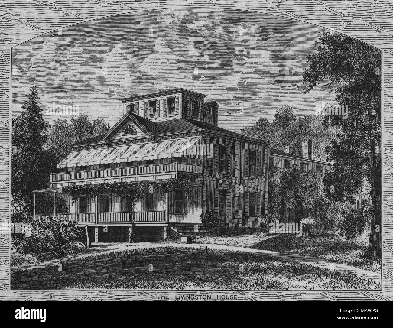 Wood engraving of the New Jersey house commonly known as Liberty Hall, built by William Livingston, governor of New Jersey during the late 18th century, 1849. From the New York Public Library. () - Stock Image