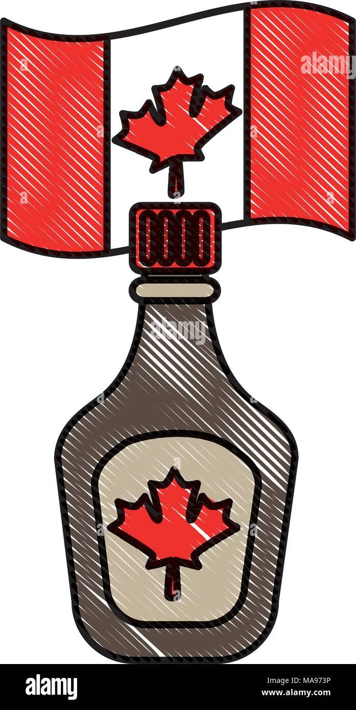bottle syrup maple and canadian flag symbol - Stock Image