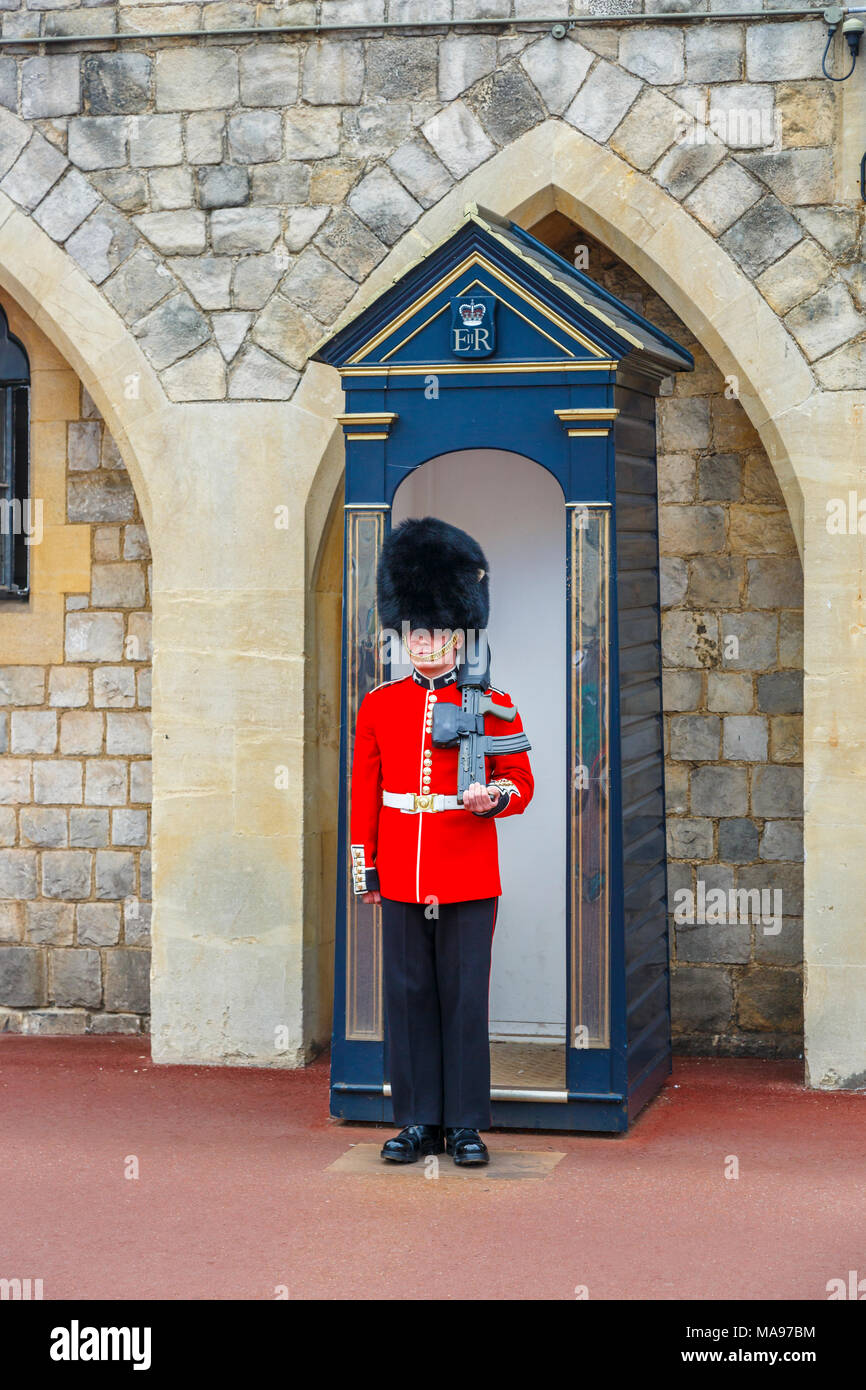 Soldier in Queen's Guard at Windsor Castle, England, with red uniform and traditional black bearskin cap or busby standing to attention, Windsor, UK Stock Photo