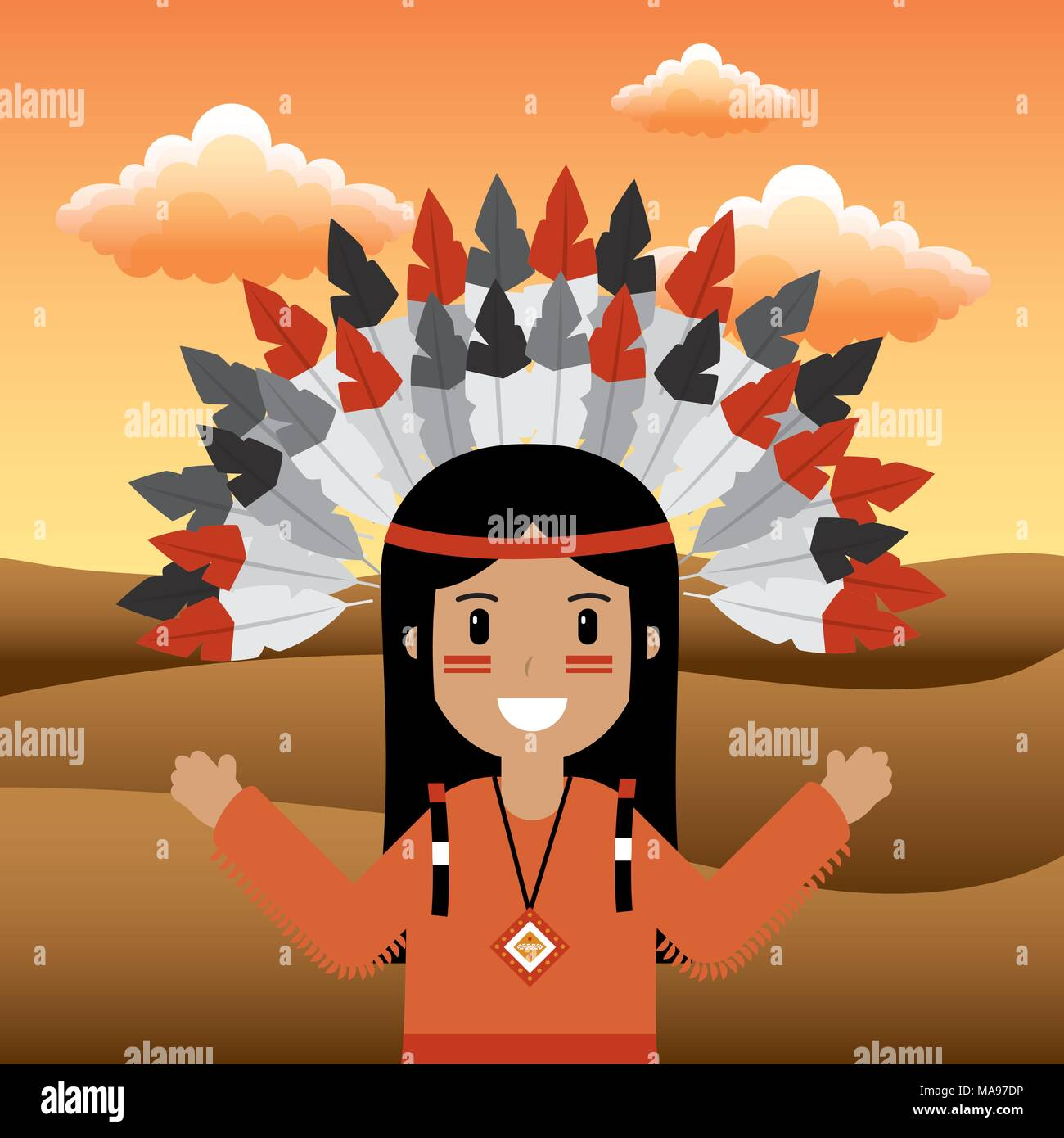 native american people cartoon - Stock Image