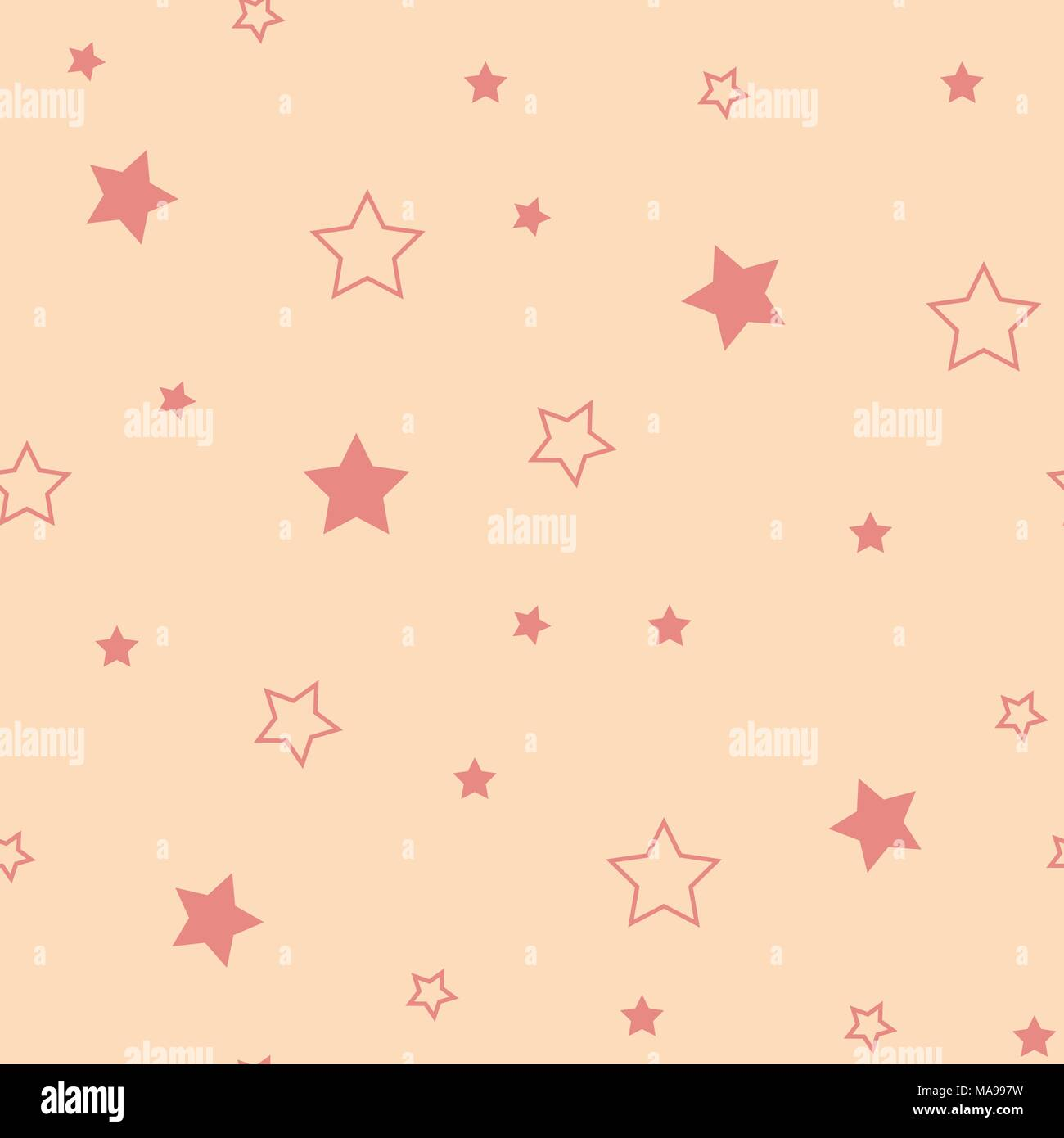 Star Seamless Pattern Cute Red Stars Baby Shower Background
