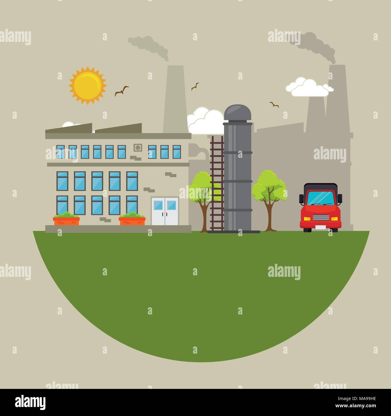 Factories and industries graphic design, vector illustration eps10 - Stock Vector