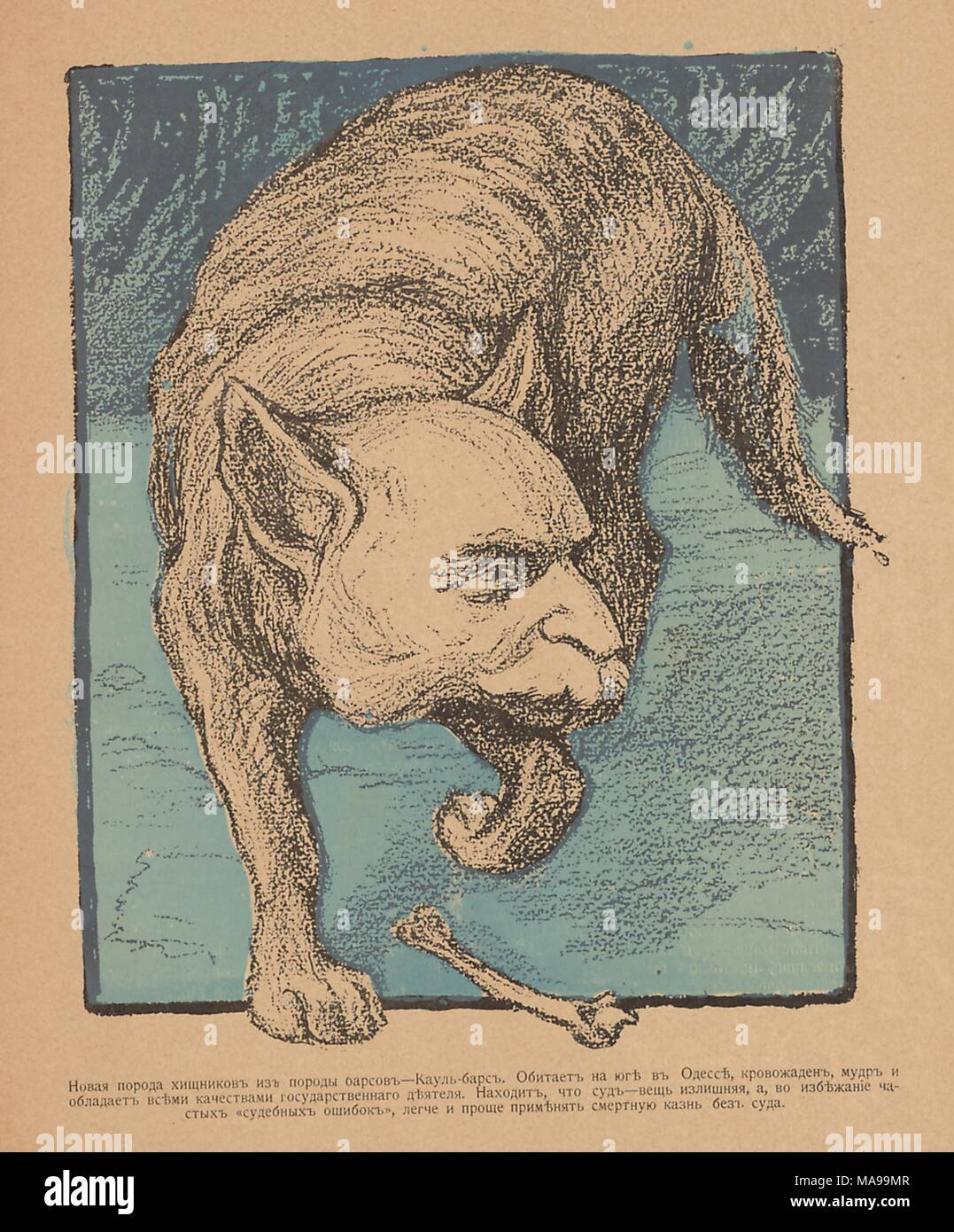 Cartoon from the Russian satirical journal Maski (Masks) depicting a dog with a human face of Alexander Kaulbars, standing above the bone, 1096. () Stock Photo