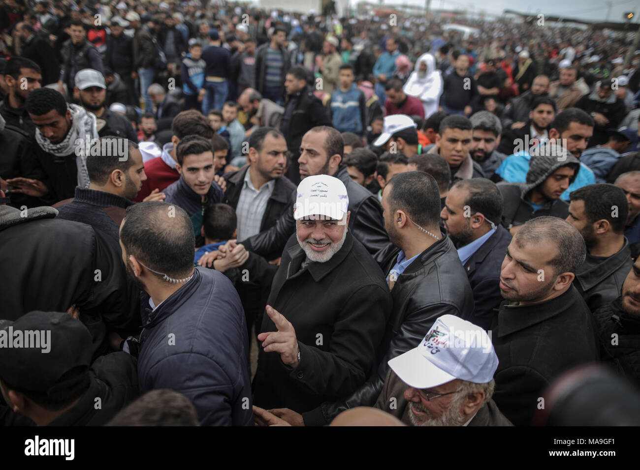 Chairman of the political bureau of the Islamist Palestinian Hamas movement Ismail Haniyeh takes part in the 'Great March of Return' to mark the 42 anniversary of the Palestinian Land Day, in Gaza, 30 March 2018. The march is to highlight the hundreds of thousands of Palestinian refugees who were expelled or fled their homes during the 1948 war that marked Israel's creation. Photo: Wissam Nassar/dpa - Stock Image