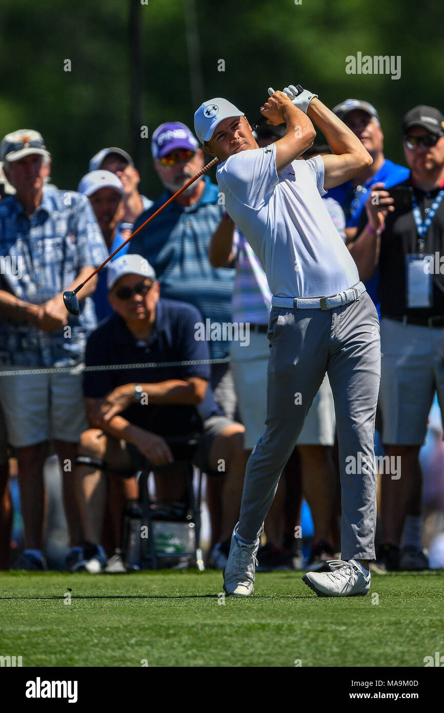 Humble, Texas, USA. 30th Mar, 2018. Jordan Spieth in action during the Houston Open at the Golf Club of Houston in Humble, Texas. Chris Brown/CSM/Alamy Live News Stock Photo
