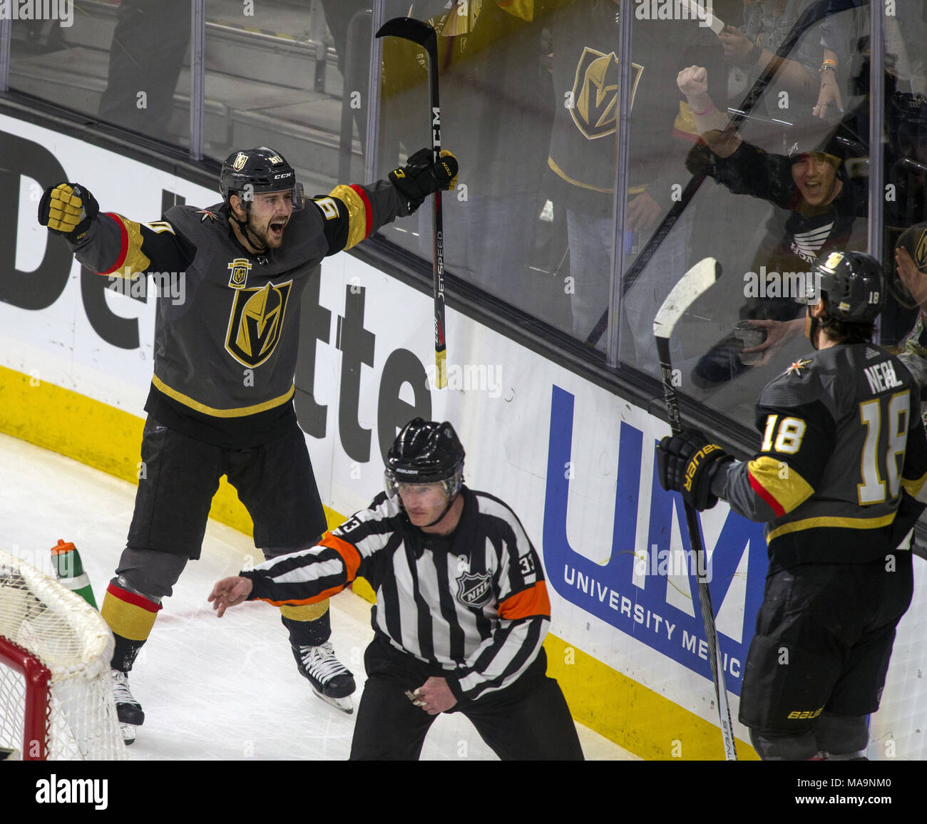 Las Vegas Nevada Usa 30th Mar 2018 Vegas Golden Knights Left Wing Tomas Tatar 90 Is Pumped By A Team Goal With Left Wing James Neal 18 During The Second Period Of