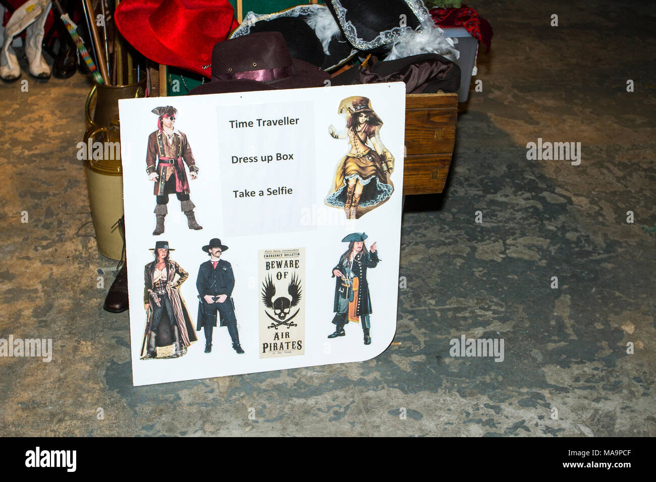 Manchester, UK, 31st March 2018.  Post apocalyptic time travellers meet up for a weekend at the asylum as the four day steampunk convention gets under way at the Bowlers Exhibition Centre in Greater Manchester.  Credit: Cernan Elias/Alamy Live News - Stock Image