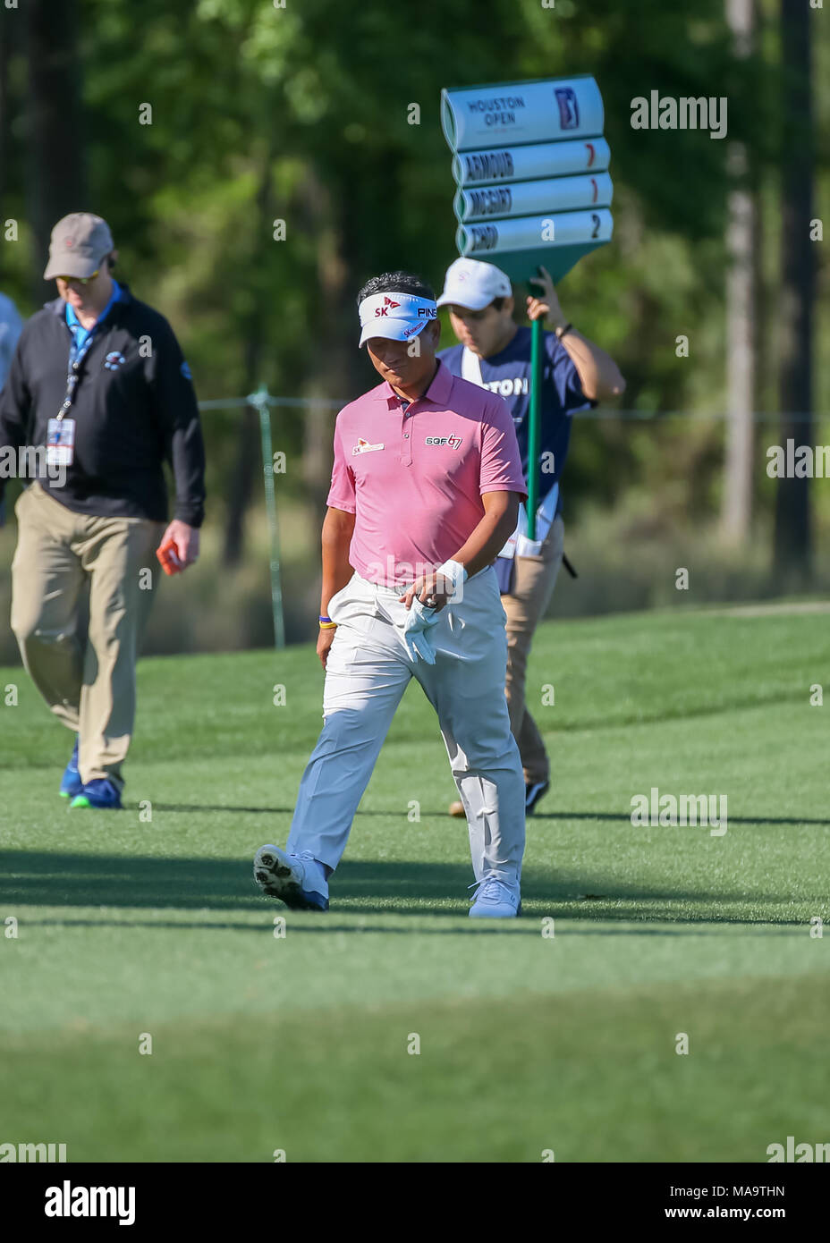 Humble, Texas, USA. 30th Mar, 2018. K.J. Choi (KOR) heads down 8 during Round 2 of the Houston Open on March 30, 2018 at Golf Club of Houston in Humble, Texas. Credit: Action Plus Sports/Alamy Live News Stock Photo