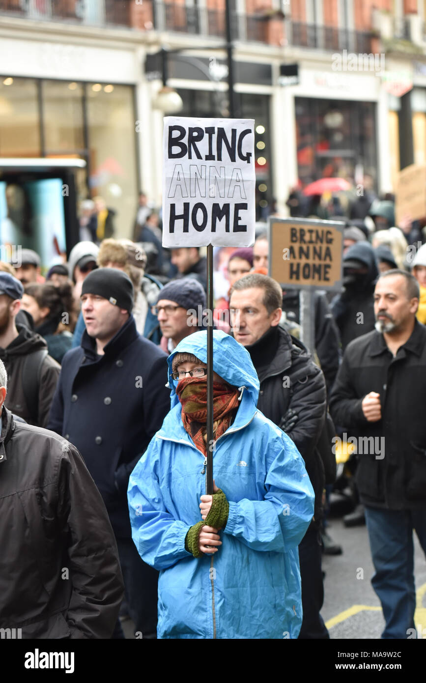 e723b92f2a Oxford Street, London, UK. 31st March 2018. Demonstrators marching through  London protesting