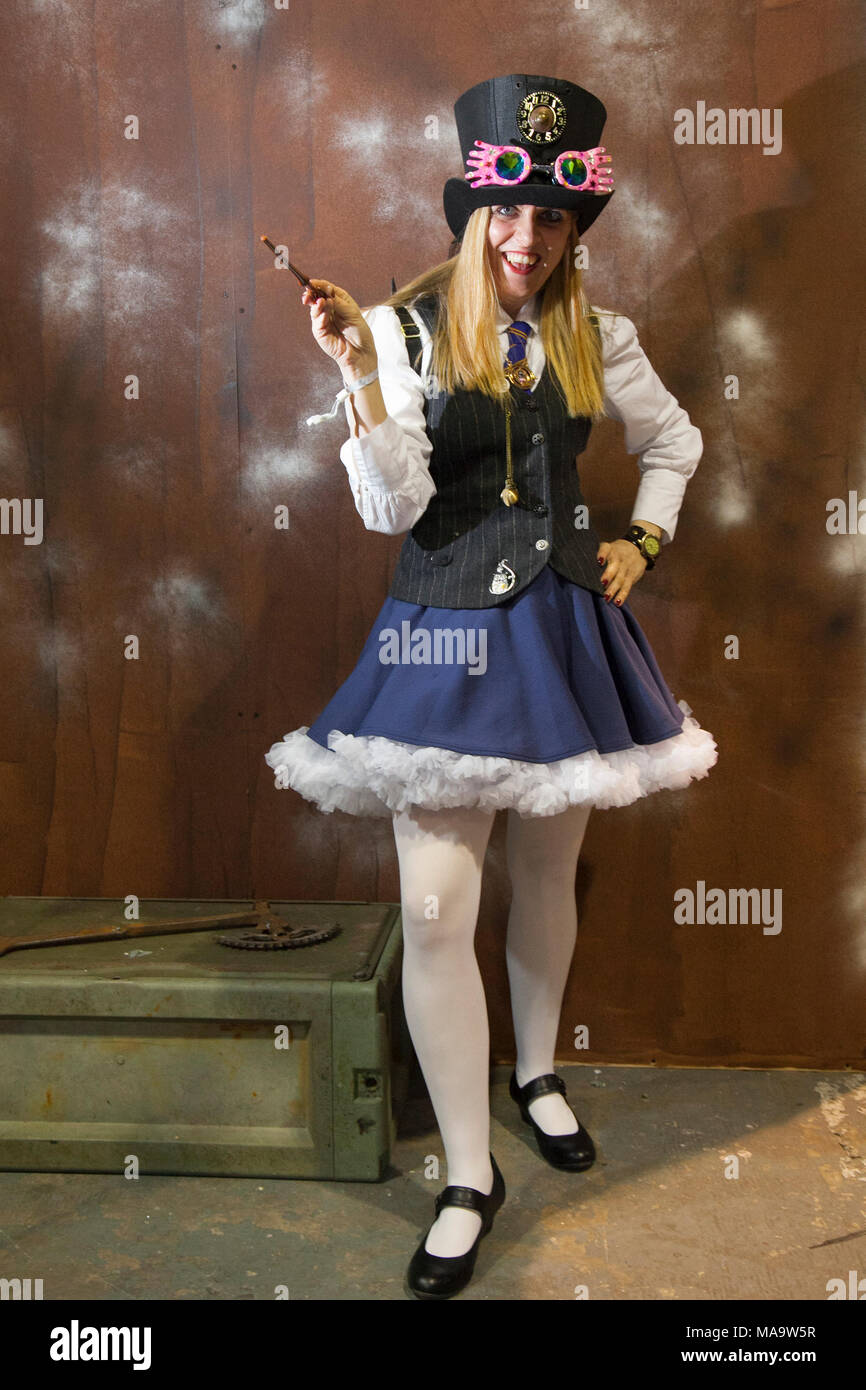 Manchester, UK 31th March 2018.  Post apocalyptic Weekend at the Asylum, the Planet's largest steampunk festival where a City becomes steampunk Capital for four days. The Victorian Steampunk Society, teamed up with Manchester's Bowlers Exhibition Centre and the organisers of For the Love of Sci Fi to create a Cosplay Expo. Credit: MediaWorldImages/AlamyLiveNews - Stock Image