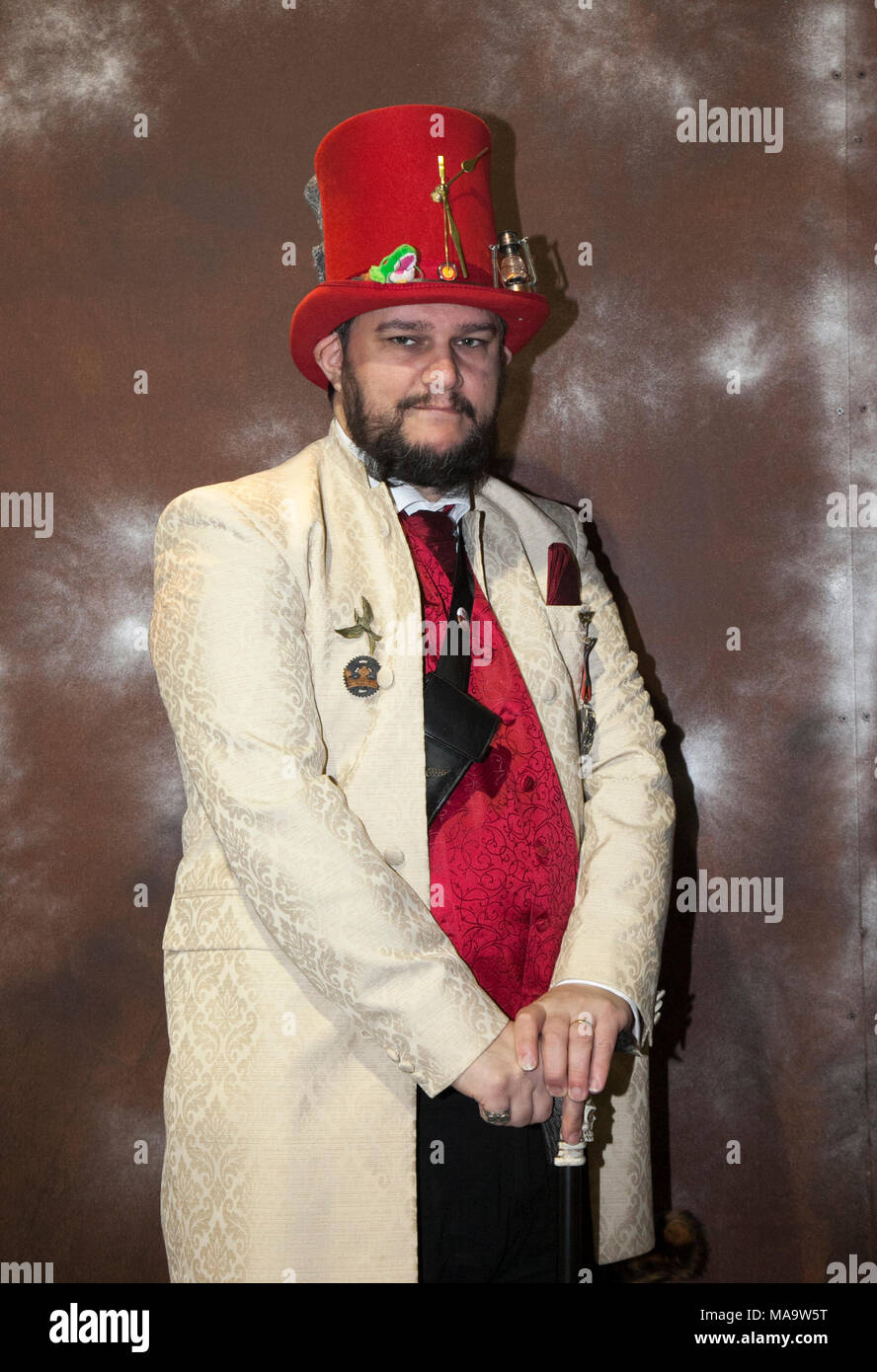 Manchester, UK 31th March 2018.  Post apocalyptic Weekend at the Asylum, the Planet's largest steampunk festival where a City becomes steampunk Capital for four days. The Victorian Steam punk Society, teamed up with Manchester's Bowlers Exhibition Centre and the organisers of For the Love of Sci Fi to create a Cosplay Expo. Credit: MediaWorldImages/AlamyLiveNews - Stock Image
