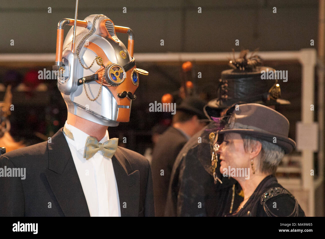 Manchester, UK 31th March 2018.  Post apocalyptic Weekend at the Asylum, the Planet's largest Wasteland Costumes festival where a City becomes steampunk Capital for four days. The Victorian Steam punk Society, teamed up with Manchester's Bowlers Exhibition Centre and the organisers of For the Love of Sci Fi to create a Cosplay Expo. Credit: MediaWorldImages/AlamyLiveNews - Stock Image