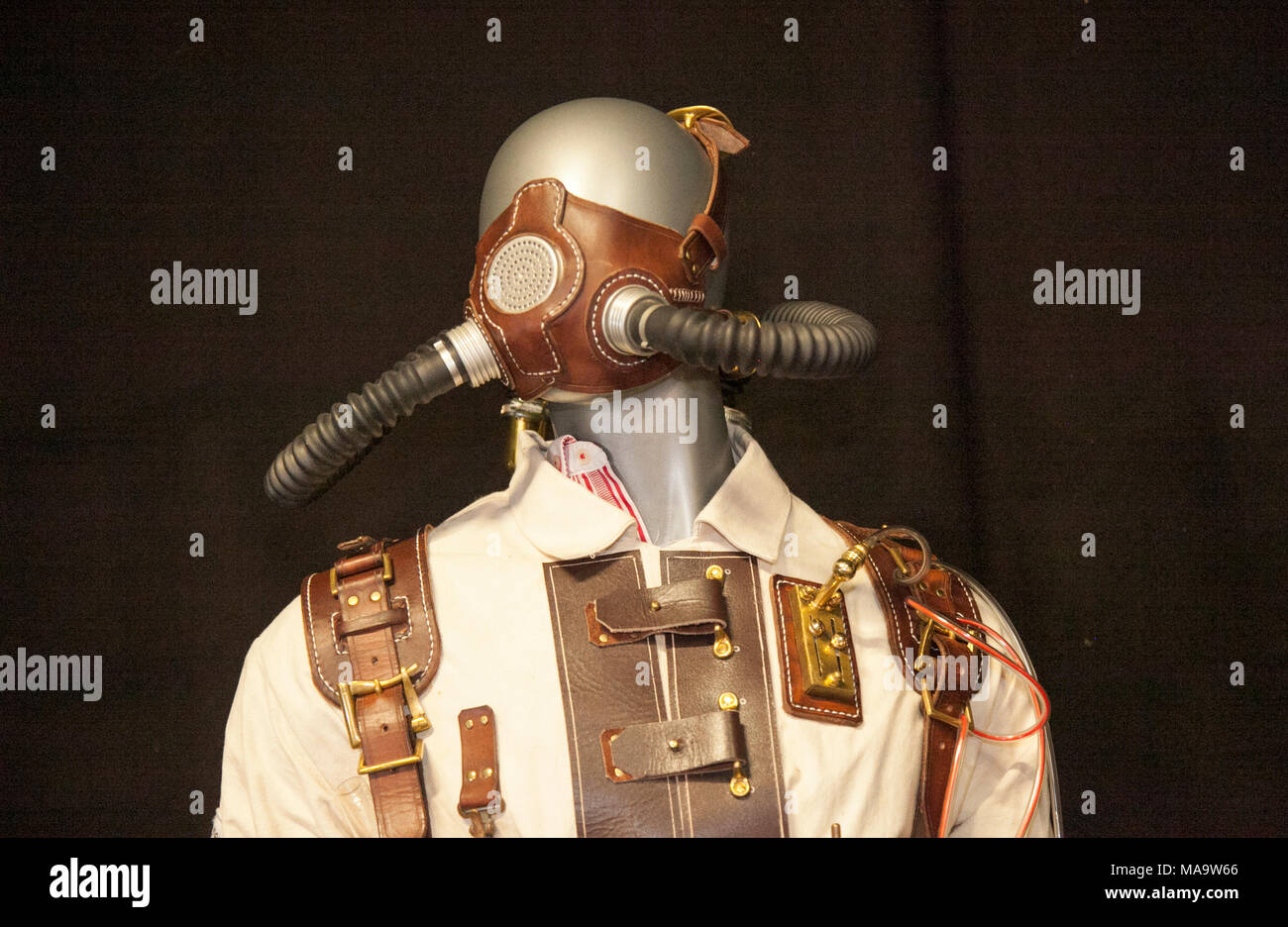 Manchester, UK 31th March 2018.  Post apocalyptic Weekend at the Asylum, the Planet's largest steampunk festival where a City becomes Wasteland Costumes Capital for four days. The Victorian Steampunk Society, teamed up with Manchester's Bowlers Exhibition Centre and the organisers of For the Love of Sci Fi to create a steam punk Expo. Credit: MediaWorldImages/AlamyLiveNews - Stock Image