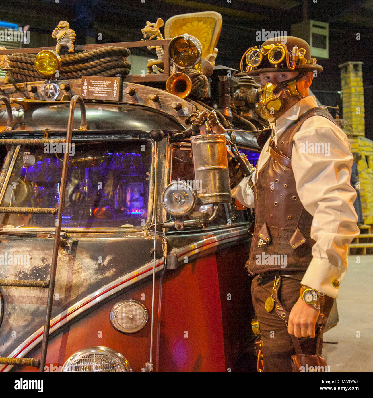 Manchester, UK 31th March 2018.  Steve at the Post apocalyptic Weekend at the Asylum, the Planet's largest steampunk festival where a City becomes Wasteland Costumes Capital for four days. The Victorian Steampunk Society, teamed up with Manchester's Bowlers Exhibition Centre and the organisers of For the Love of Sci Fi to create a Cosplay Expo. Credit: MediaWorldImages/AlamyLiveNews - Stock Image