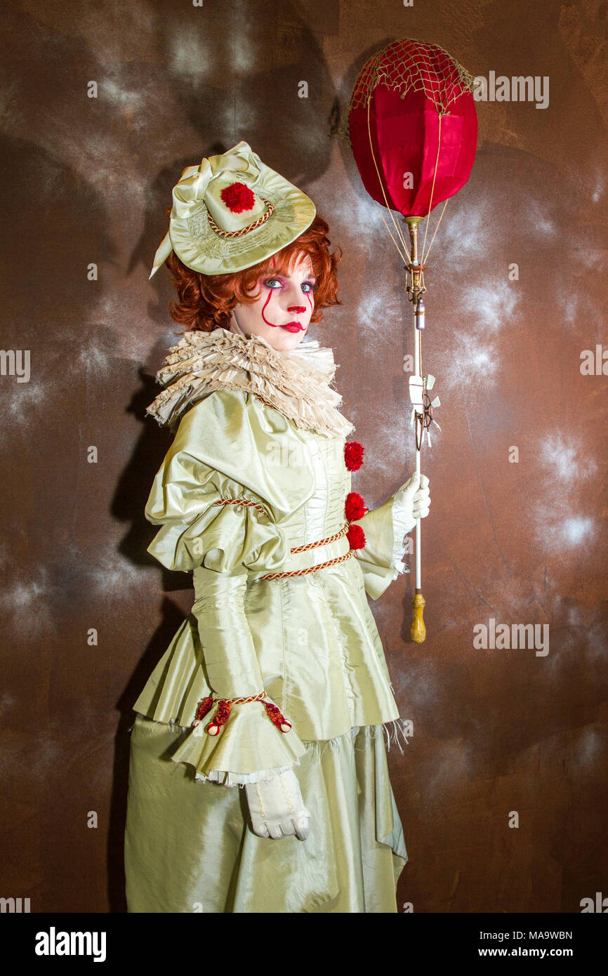Manchester. 31st March 2018.  Post apocalyptic time travellers meet up for a weekend at the asylum as the four day steampunk convention gets under way at the Bowlers Exhibition Centre in Greater Manchester.  Credit: Cernan Elias/Alamy Live News - Stock Image