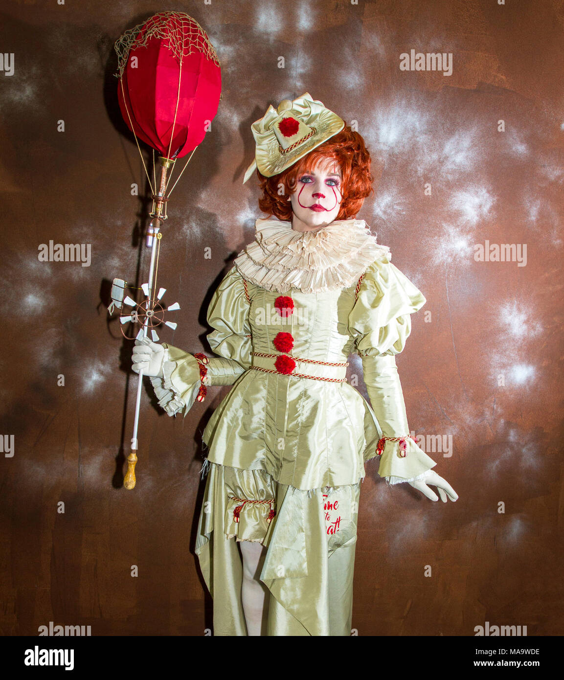 Manchester. 31st March 2018. Julia Scott Post apocalyptic time travellers meet up for a weekend at the asylum as the four day steampunk crossover convention gets under way at the Bowlers Exhibition Centre in Greater Manchester.  Credit: Cernan Elias/Alamy Live News - Stock Image