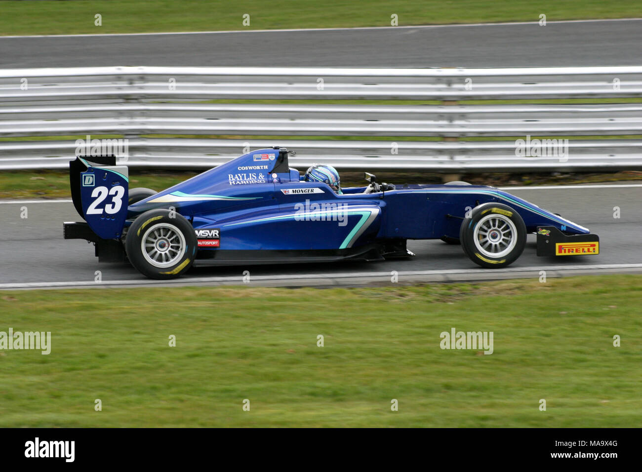 Cheshire, UK, 31 Mar 2018. 18 year old Billy Monger racing at Oulton Park, for the first time since the accident in whuich he lost his legs. Credit: Ian Simpson/Alamy Live News Stock Photo