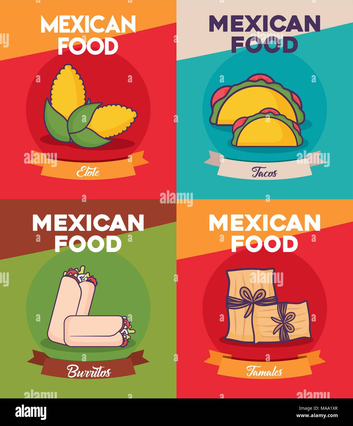 Mexican Restaurant Tacos Burritos Stock Photos Set Of Meat Cuts Diagram In Colourful Style Icon Food Concept Over Colorful Background Vector Illustration Image