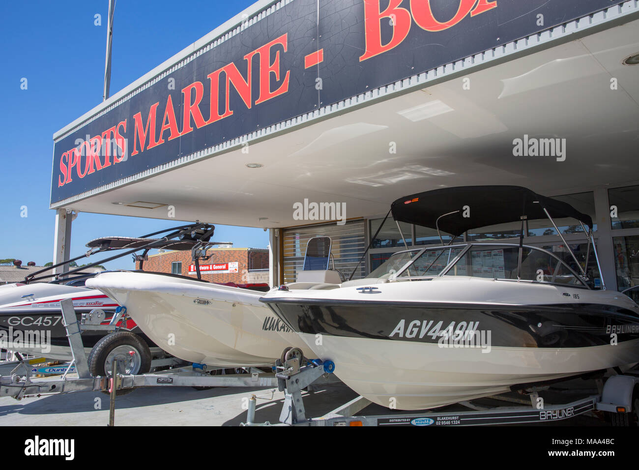 Power motor boats for sale at a boatyard in Sydney,Australia