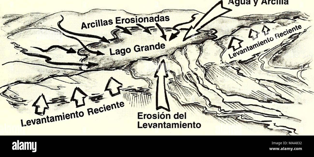 . Ecuador, Perú : Cuyabeno-Güeppí . Levantamiento Erosión del Levantamiento Complejo de Lagos de Aguas Negras en el Presente Lago Drenado - Stock Image