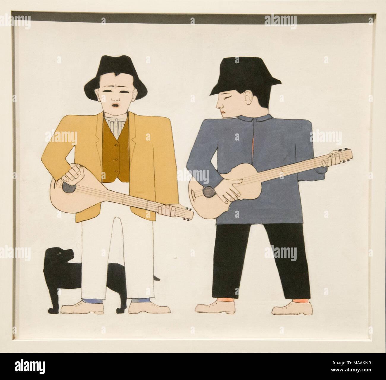 'Guitar players' by Bart van der Leck, museum Kroller Muller, Otterloo, Holland - Stock Image