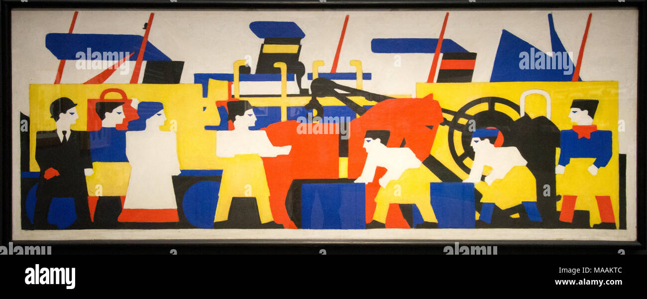 'Working at the docks' by Bart van der Leck, museum Kroller Muller, Otterloo, Holland - Stock Image