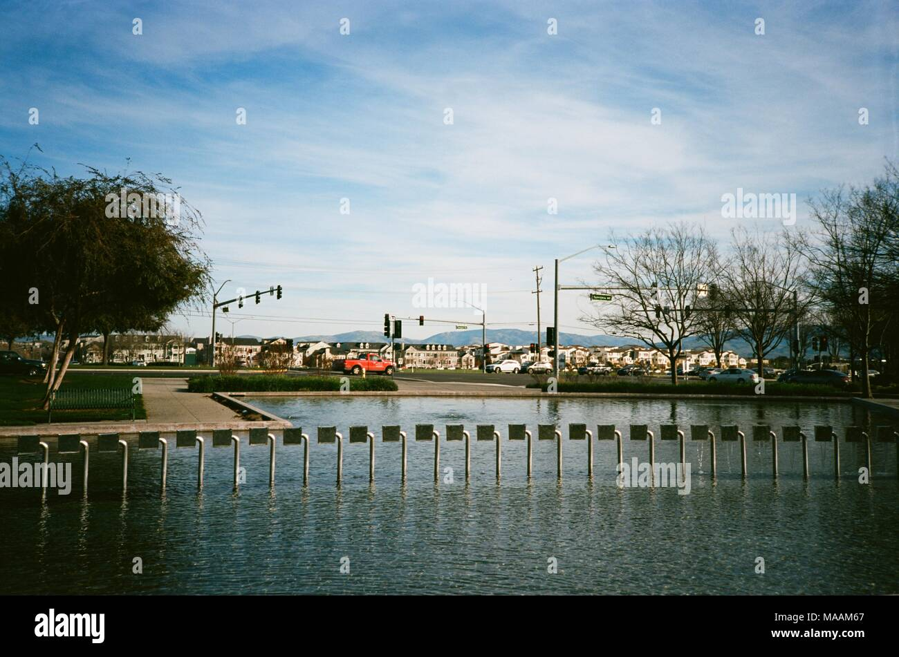 Elaborate fountain in Emerald Park, the main public park in Dublin, California, February, 2018. According to 2014 data, Dublin is among the top three fastest growing cities in the state of California. () - Stock Image