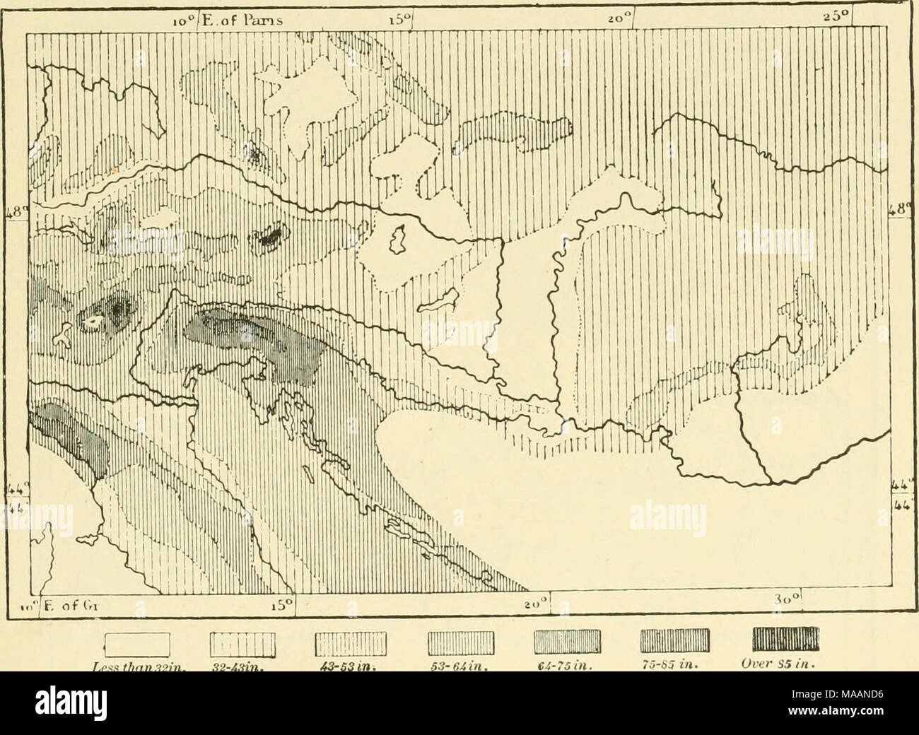 ". The earth and its inhabitants .. . Lexs than 32m. 32-43in. 43-S3in. thai. The names of several villages in the latter prove that the district was formerly inhabited, in part at least, by Slavs. Boioarians and Swabians from the north-west, Germanised Slavs advancing up the valley of the Drave, Goths and Longobards ousted from Italy, gradually reduced the domain of the Ladins, and they are confined now to the valleys of Gherdeina (Gardena, or Groden), Enneberg, and Badia, to the east of Brixen. The ""Welsh"" spoken there is mixed, however, with many words of German origin, whilst the G - Stock Image"