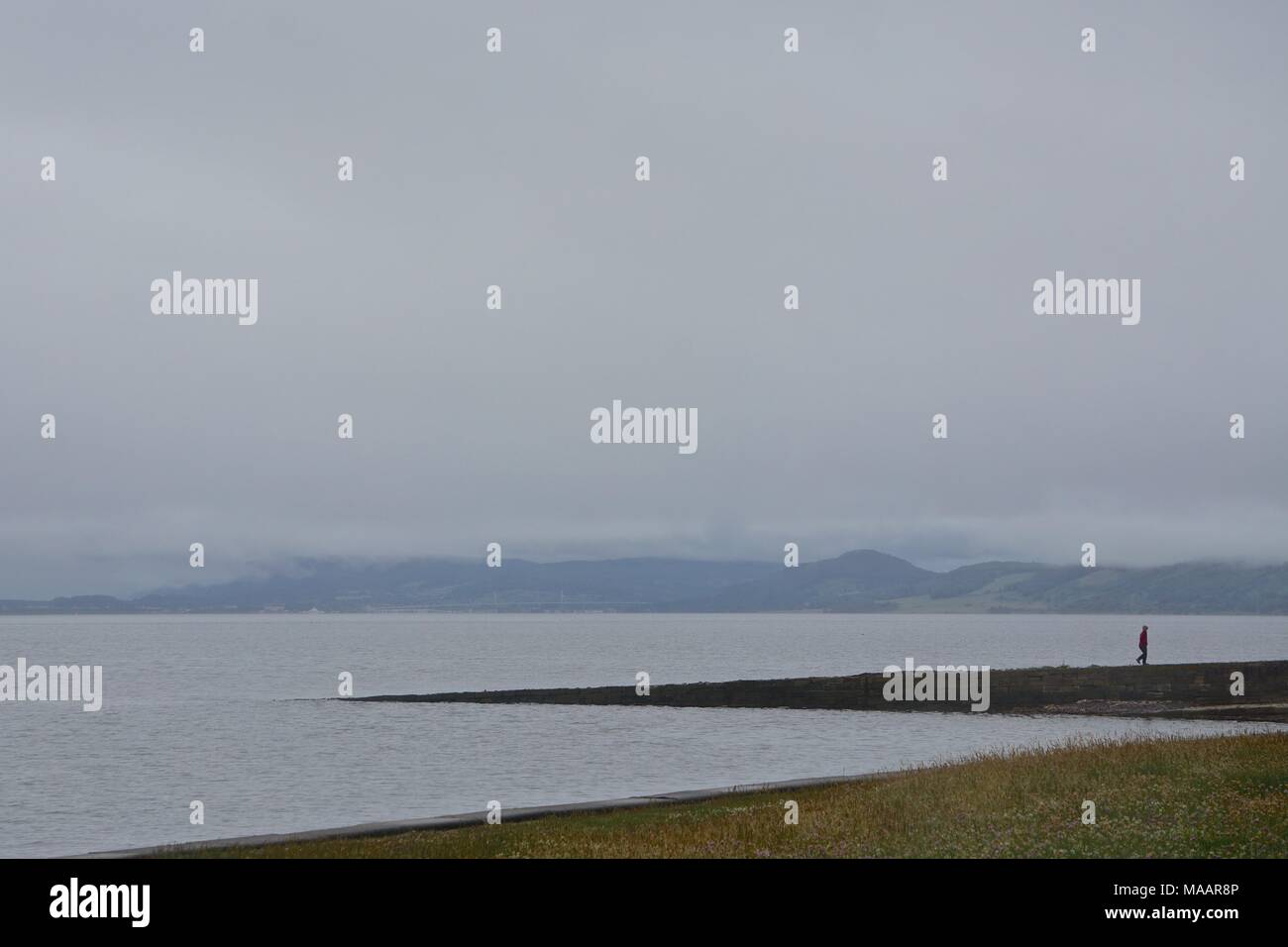 Chanonry Point in fog. A popular location for dolphin watching at the end of a spit of land on the Moray Firth on the Black Isle, Scotland. - Stock Image