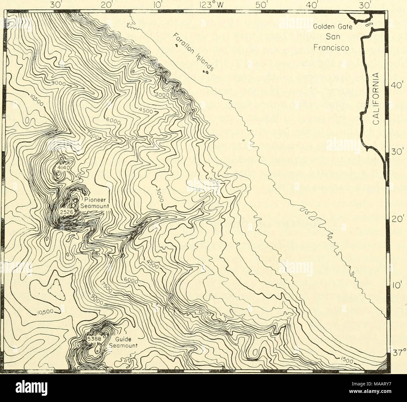 . The Earth beneath the sea : History . 37° N Fig. 7. Continental shelf and slope off San Francisco, California, with canyons and large seamounts on the lower slope. Contour interval 300 ft. (After Shepard and Emery, 1941.) The Russian expeditions to East Antarctica (Jivago and Lissitzin, 1957- 1958) have discovered that the slope off this continent displays a wide variety of types. In front of the Shackleton ice shelf (96°-100°E), and off the Princess Ragnhild Coast (25°-30°E), the slope consists of tilted plains down to 800 fm or more. Off Llitzow-Holm Bay (38°E), and to the south of the Ker - Stock Image
