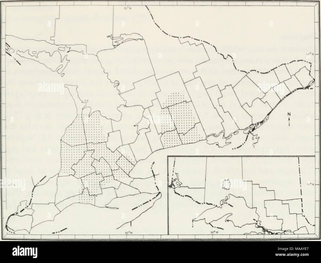 . The earthworms (lumbricidae and sparganophilidae) of Ontario . Fig. 39 The known Ontario distribution of Octolasion tyrtaeum. LAND CO. *Hwy 45. 4.84 km n of Baltimore, under logs, 28 Apr 72, JWR, 1-4-1. OXFORD CO. •Hwy 97, Washington, w.e., under logs, 3 May 72, JWR, 0-1-3. PEEL CO. *Hwy 5, .81 km e of Dixie Rd. under logs. 29 Apr 72, JWR. 0-1-1. PETERBOROUGH CO. *Hwy 28, Lakefield College, under logs near waterfront, 27 Apr 72, JWR & CWR, 4-5-8. VICTORIA CO. *Hwy 7, 7.26 km e of Hwj 35. under log, 26 Apr 72, JWR, 0-3-1. WATERLOO CO. *Hwy 24A, 11.45 km n of Pans, un- der log, 3 May 72, J - Stock Image