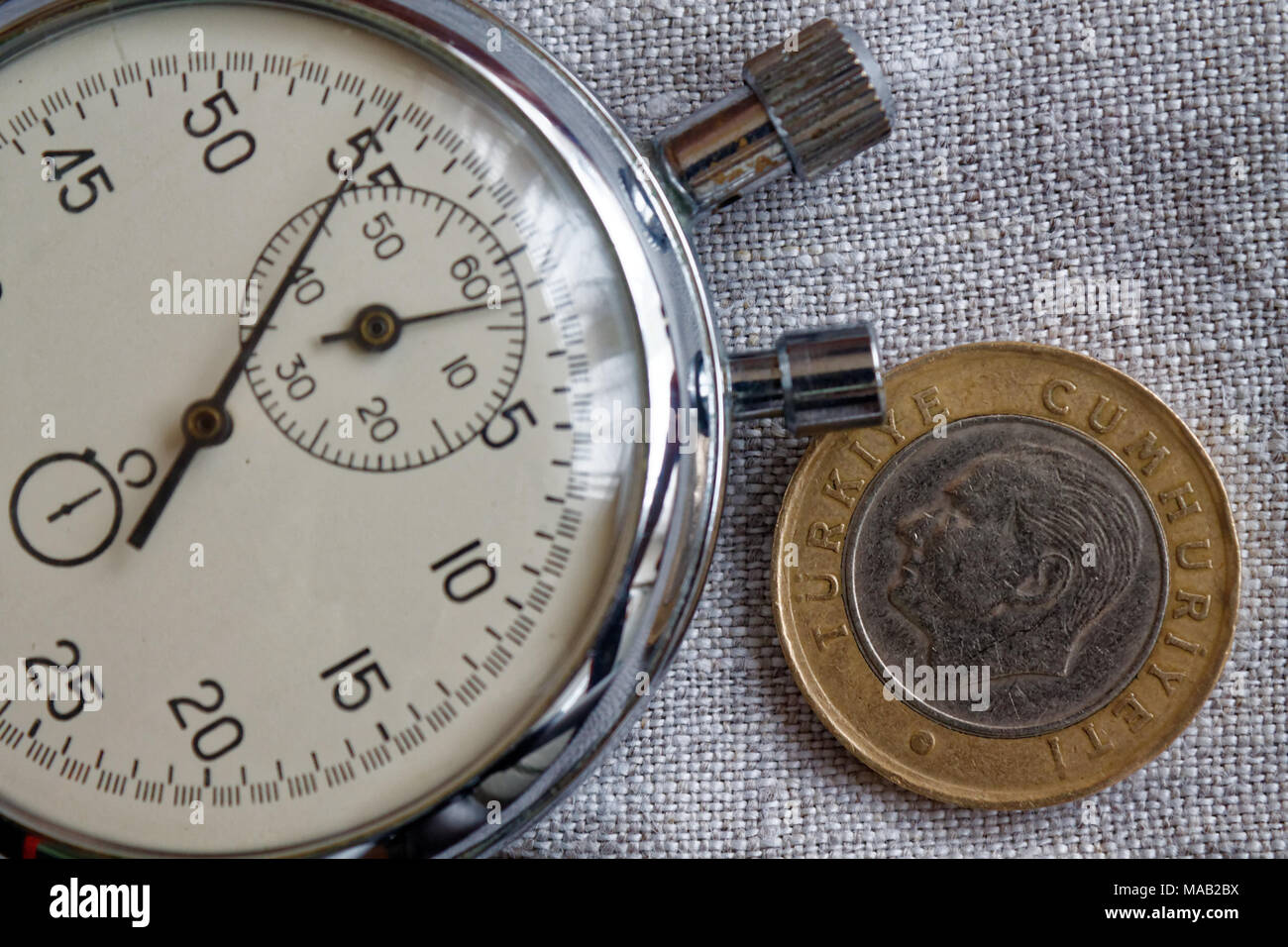 Turkish coin with a denomination of 1 lira (back side) and stopwatch on gray linen backdrop - business background Stock Photo