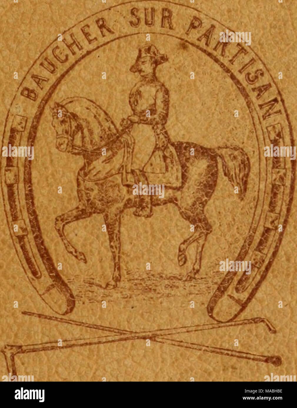 . Dressage méthodique du cheval de selle d'aprés les derniers enseignements . PARIS R O T H se H I Lt>, É D1T E tf R l3, RUE DES SAINTS-PÈRES, l3 1891 - Stock Image