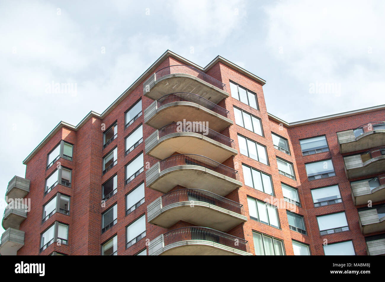 Modern condo buildings with huge windows in Montreal, Canada. Stock Photo