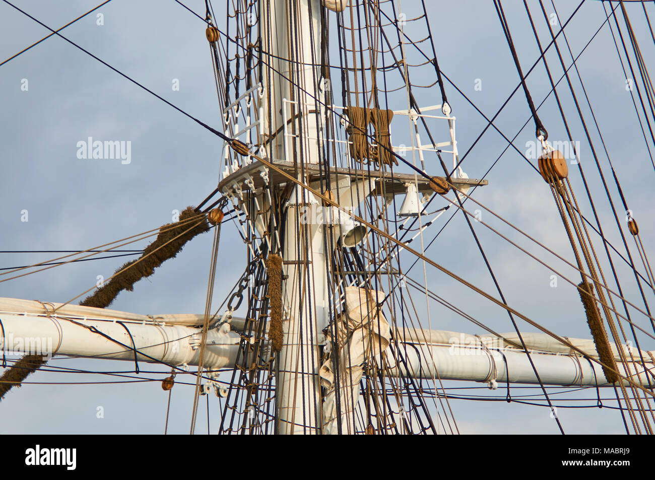 Detail of the Rigging of a Square Rigged Tall Ship Sailing Vessel moored in Bergen Harbour in Norway, Scandinavia. - Stock Image