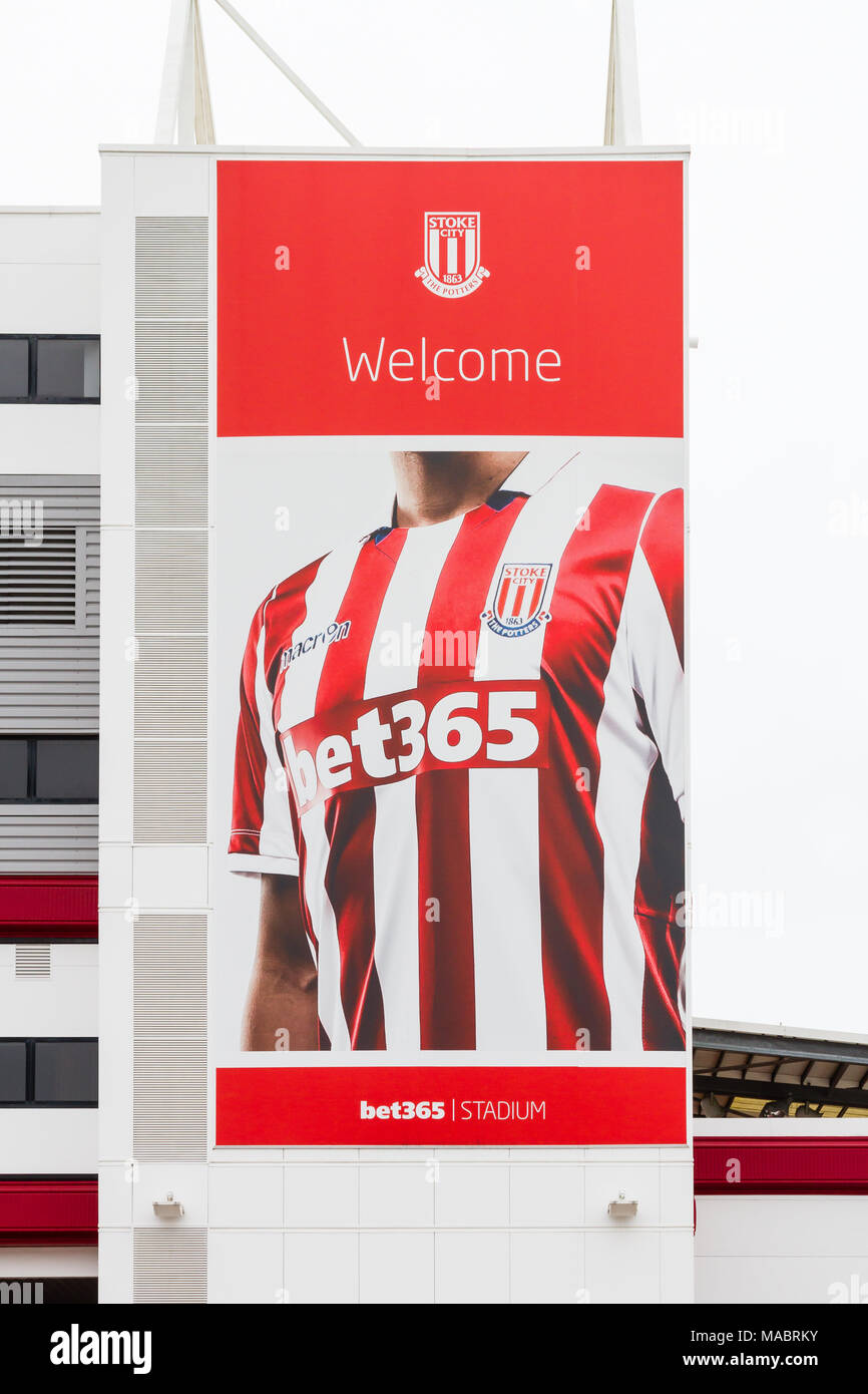 A banner adorns the Bet 365  Stadium, home of Stoke City Football Club in Stoke-On-Trent, England. - Stock Image