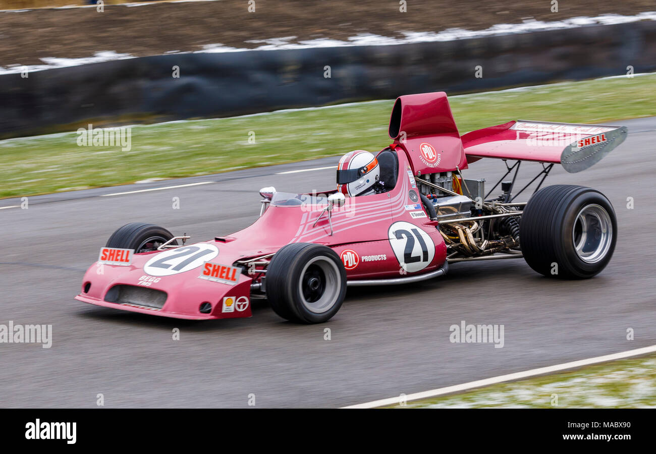 1974 Begg-Chevrolet 018 F5000 with driver Linsay O'Donnell at the Goodwood 76th Members Meeting, Sussex, UK. Stock Photo
