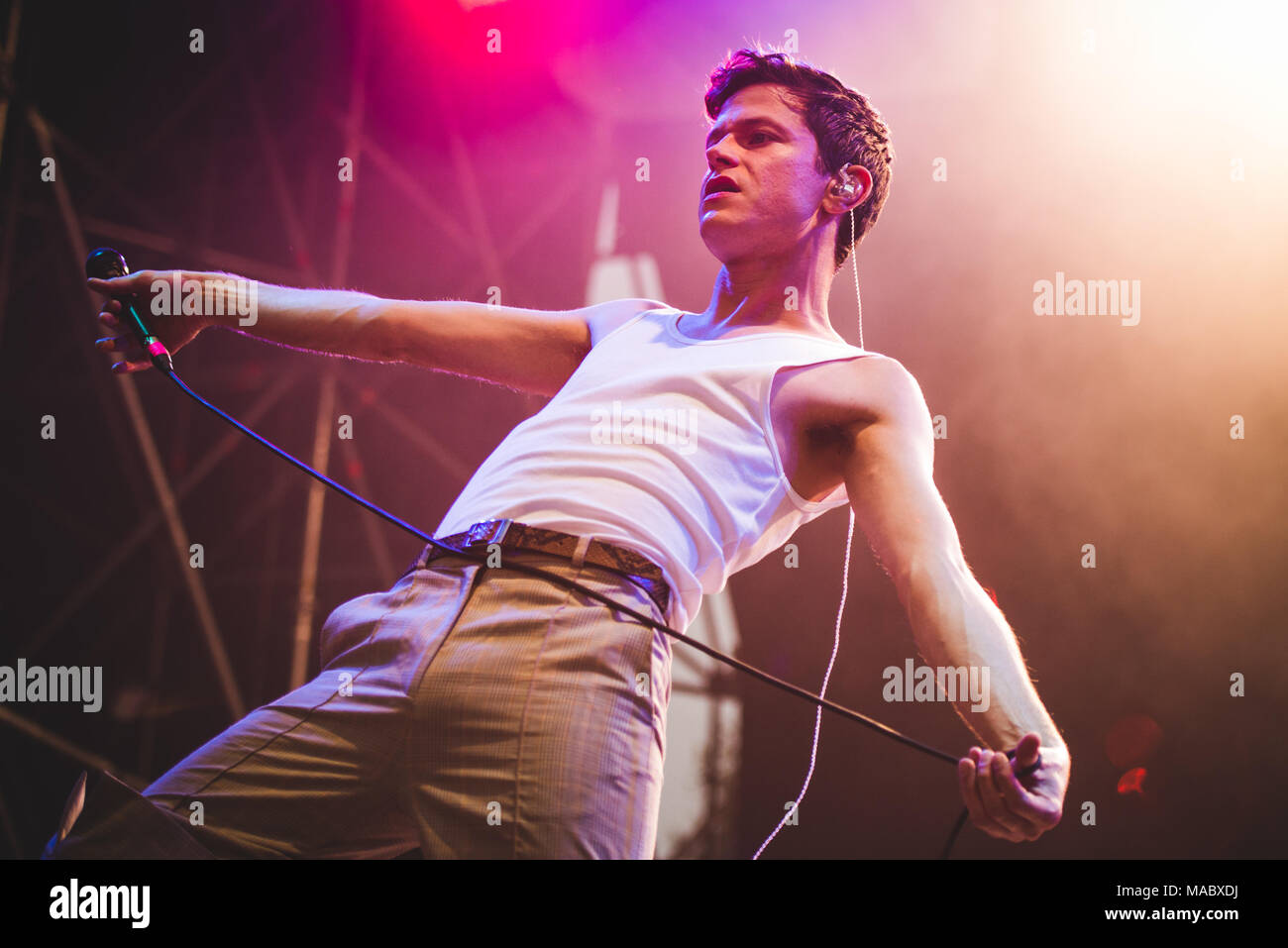 August 26th, 2017: Mike Hadreas, better knows as Perfume Genius, performing live on stage at the TODays festival 2017 in Torino. Photo: Alessandro Bos - Stock Image
