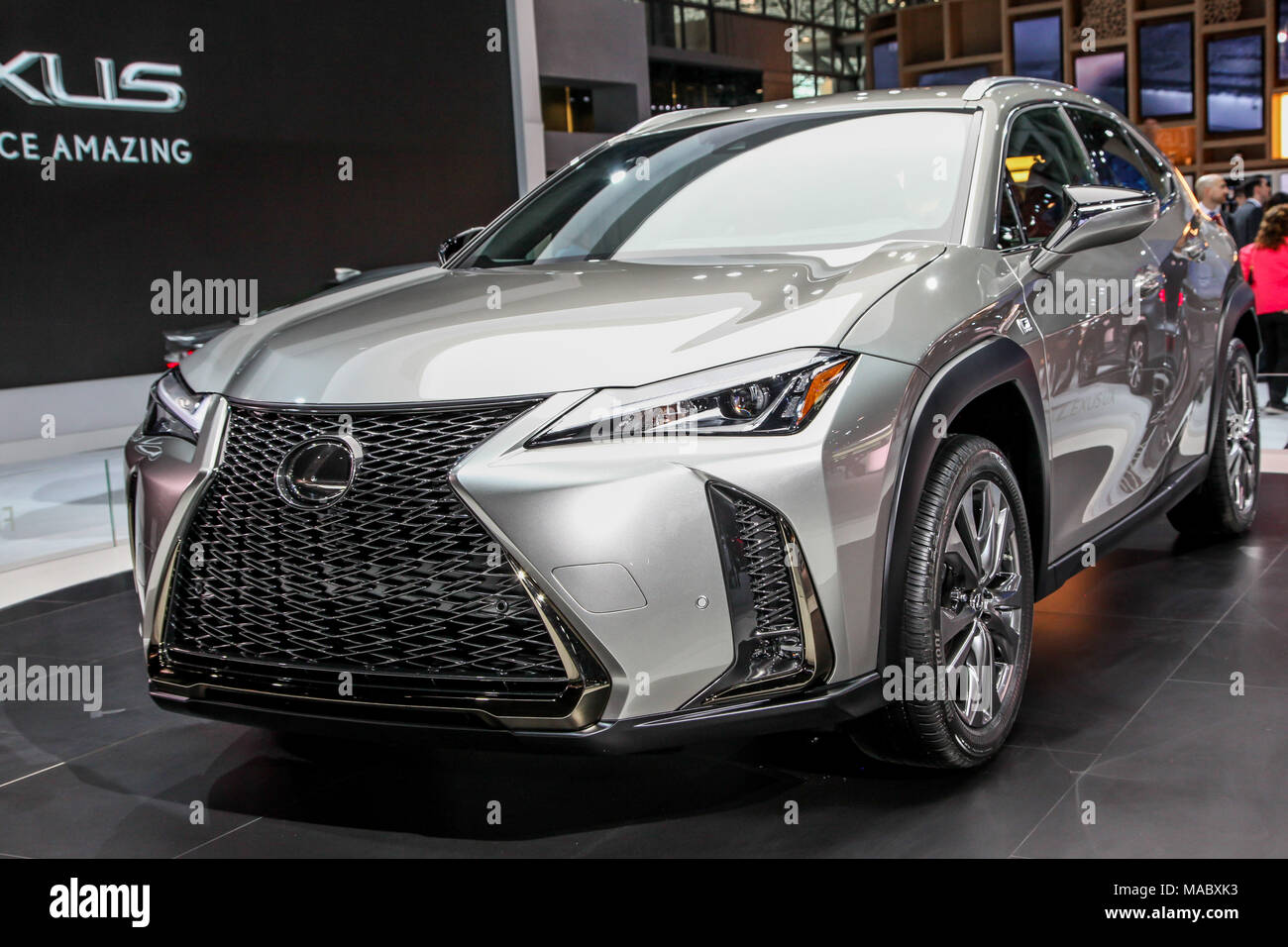 NEW YORK CITY-MARCH 28: Lexus UX 200 shown at the New York International Auto Show 2018, at the Jacob Javits Center. This was Press Preview Day One of - Stock Image