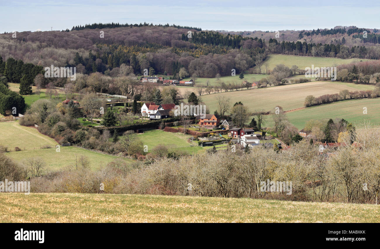 English Landscape overlooking the Hamlet of Middle Assenden in the Chiltern Hills - Stock Image