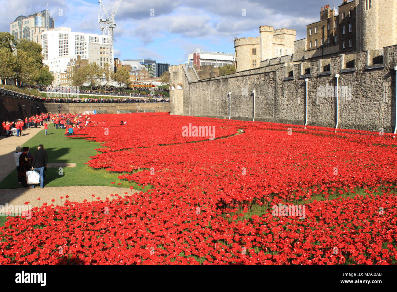 Blood Swept Lands and Seas of Red was a work of installation art placed in the moat of the Tower of London, England, 2014, UK, PETER GRANT - Stock Image