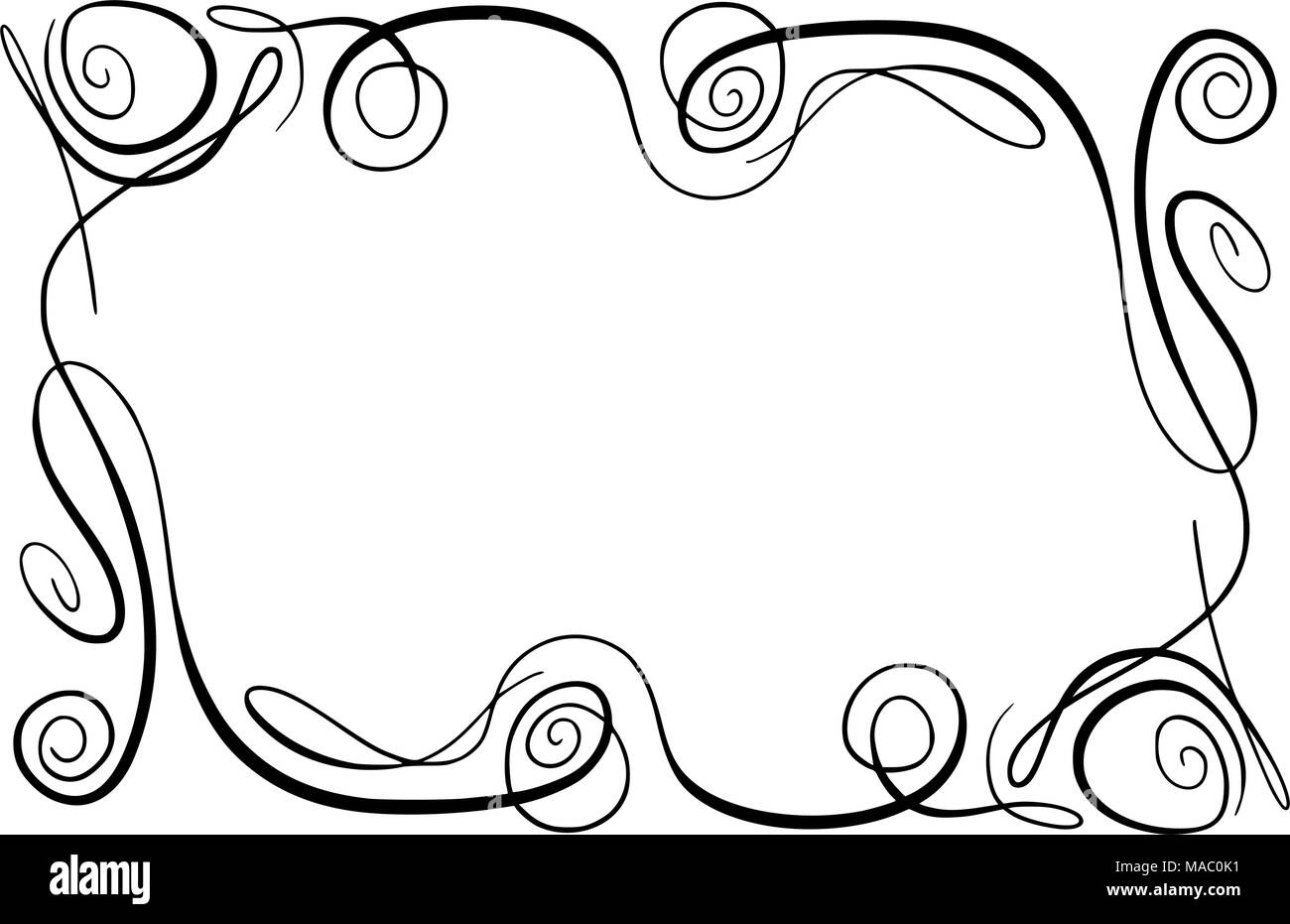 Flourish Vector Frame. Rectangle with squiggles, twirls and embellishments for image and text elements. Hand drawn black highlighting curlicue border isolated on the white background. Doodle effect. Pencil marks. Cartoon style. Geometric shapes for your design. Sketch look - Stock Image
