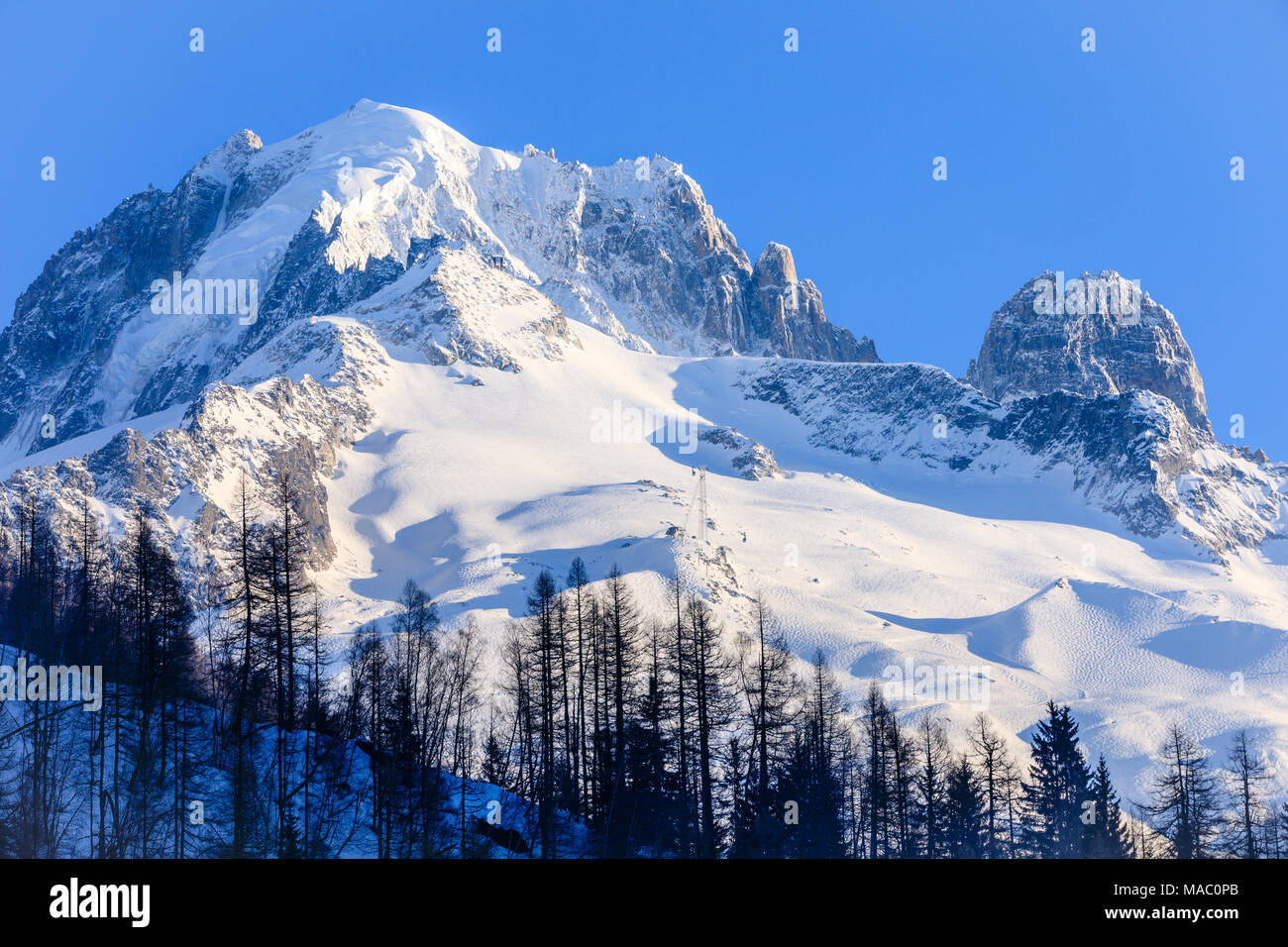 Grand Montets ski area above the ski resort of Argentiere in the French Alps - Stock Image
