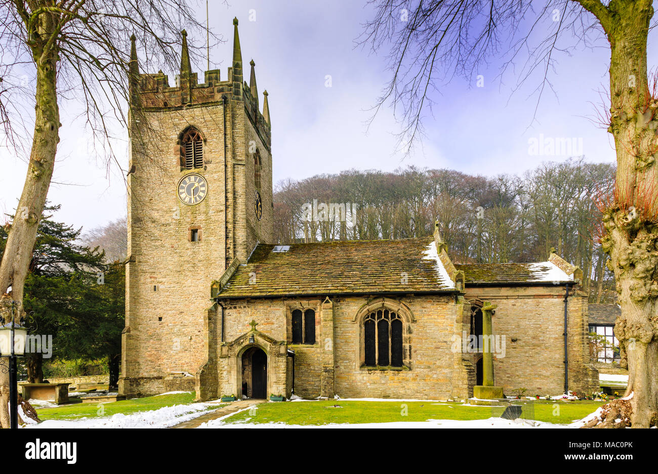 Pott Shrigley village church is a picturesque church in a rural Cheshire village that is popular for weddings.  Close to Bollington - Stock Image