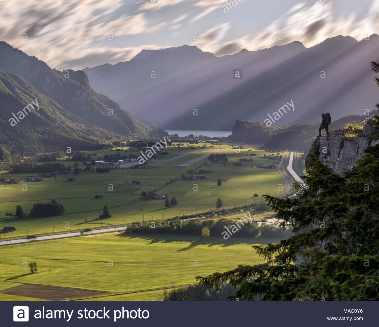 alpinist / adventurer silhouette standing on cliff overlooking green swiss alps valley, sunrays shining from the mountain peaks illuminating the grass - Stock Image