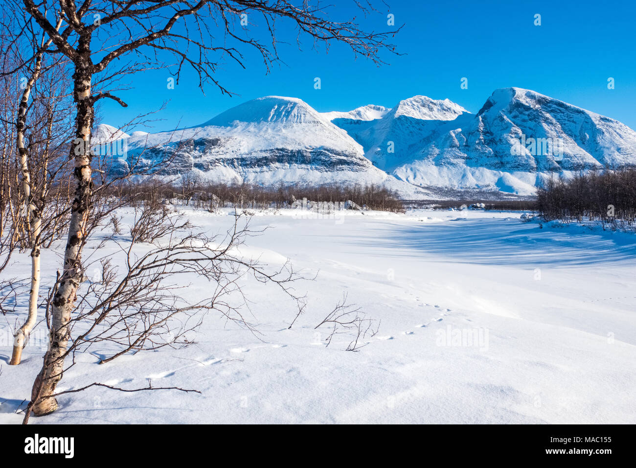The Akka mountains in the Sarak  National Park, winter, northern Sweden - Stock Image