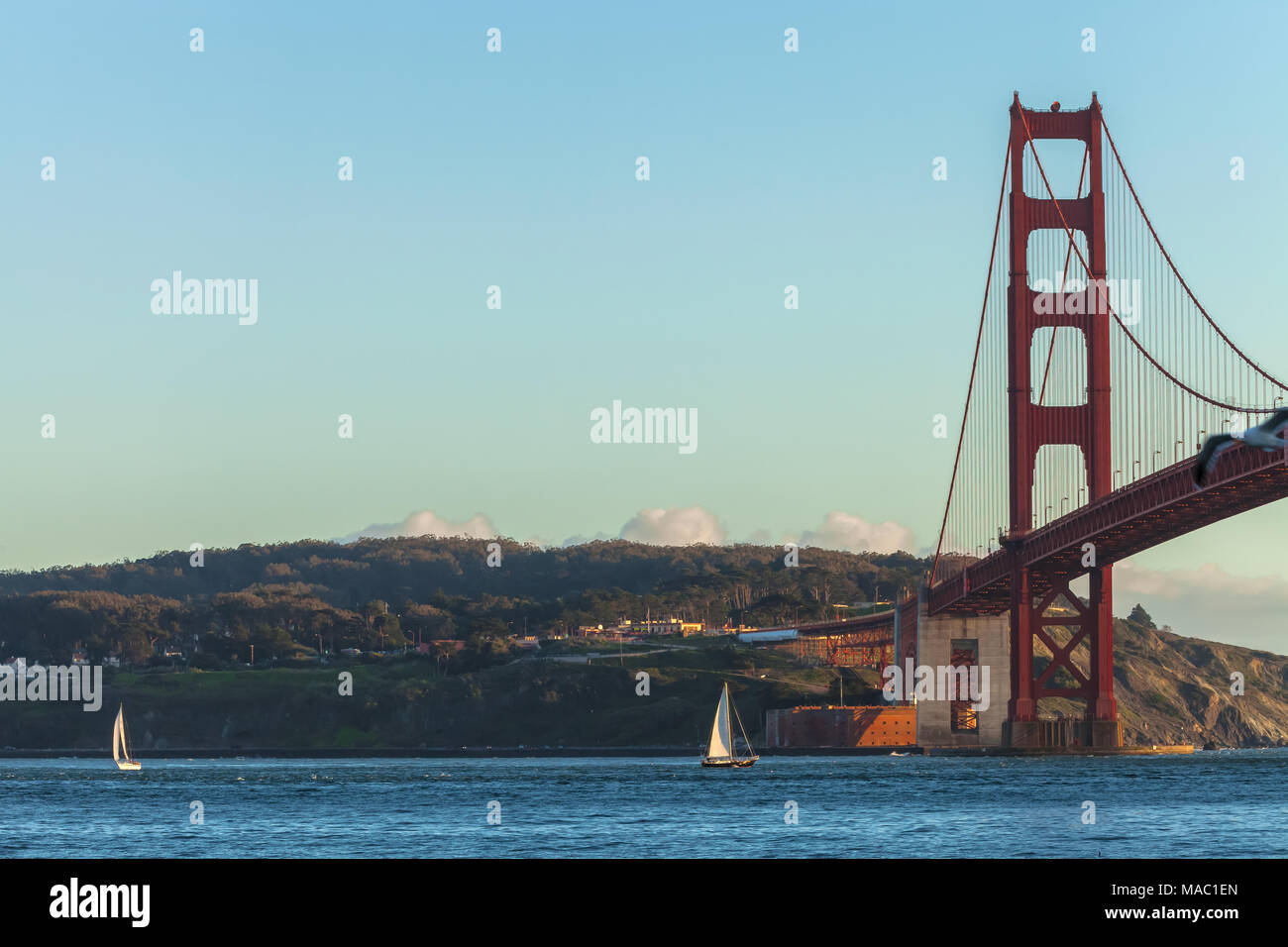 Sailboats in the San Francisco Bay, with the Golden Gate Bridge in the background, San Francisco, California, United States - Stock Image
