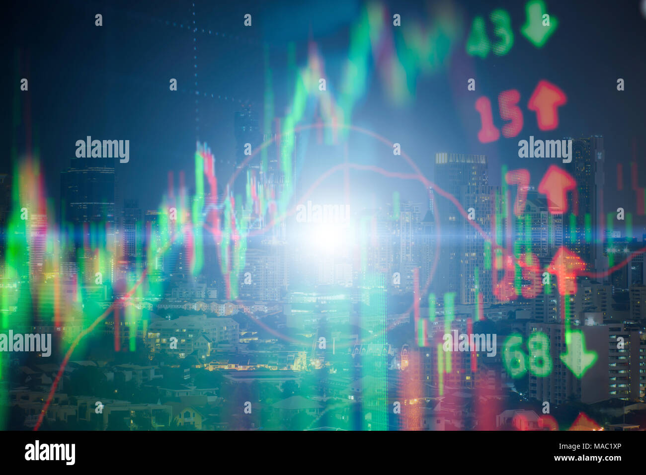 Investment growth concept with price of stock market graph background: Candlestick graph chart of stock market investment trading. Stock Photo